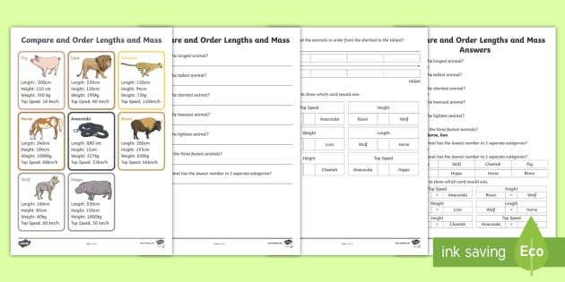Compare and Order Lengths and Mass Activity Sheet - Learning from Home Maths Workbooks, Top cards, Top trumps, order numbers, order length, order weight