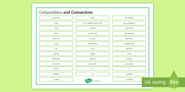 Conjunctions Word Mat French  - French, Grammar, mat, word, conjunctions.