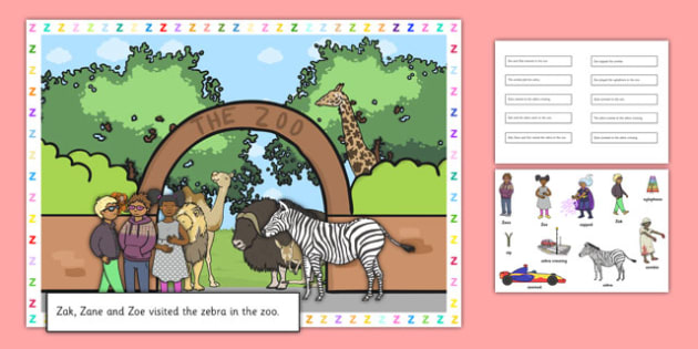 Silly Z Sound Sentences Cut and Stick Pictures - silly z, sentence, cut and stick, pictures