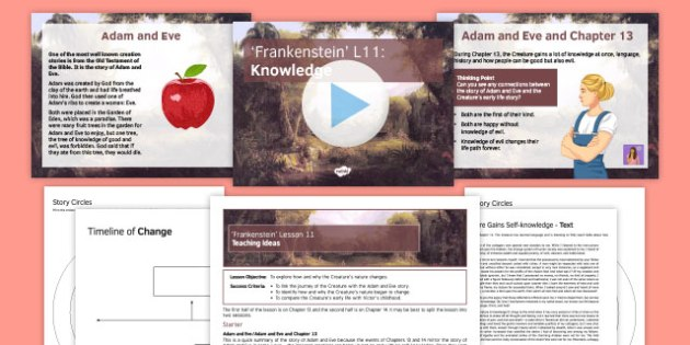 Frankenstein Lesson Pack 11: Knowledge Chapters 13 and 14 - Frankenstein, Creature, Adam and Eve, frame story, knowledge.