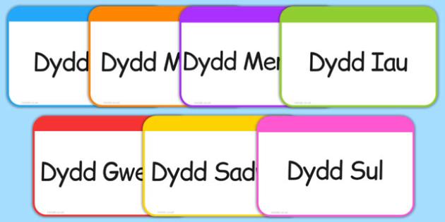 Days of the Week Flashcards Cymraeg - welsh, cymraeg, days, week, flashcards, flash cards