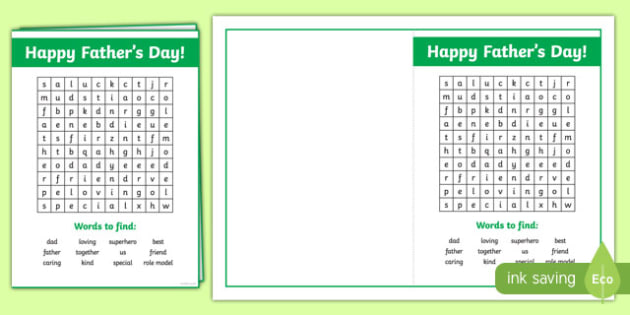 Father's Day Wordsearch Card Activity Sheet-Australia, worksheet