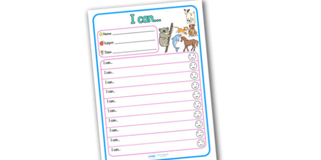 Themed Target and Achievement Sheets Animal Themed I Can - Target and Achievement Sheet, I Can Sheet, Target Sheet, Animal Themed