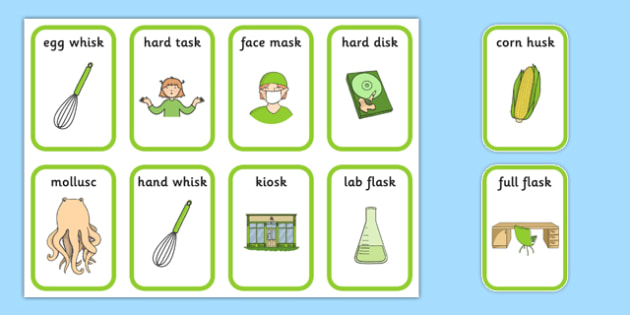 Word Final SC SK Playing Cards Two Syllables - speech sounds, phonology, articulation, speech therapy, cluster reduction