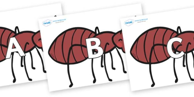 A-Z Alphabet on Ants - A-Z, A4, display, Alphabet frieze, Display letters, Letter posters, A-Z letters, Alphabet flashcards