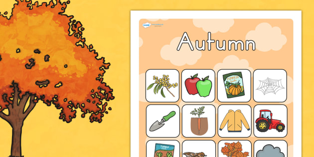 Autumn Vocabulary Poster Mat - visual aid, writing aid, seasons