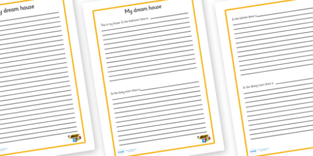 My House Persuasiave Writing Frames - BIC picture, houses and homes, writing template, house, home, Word cards, Word Card, flashcard, flashcards, brick, stone, detached, terraced, bathroom, kitchen, door, caravan, where we live, ourselves