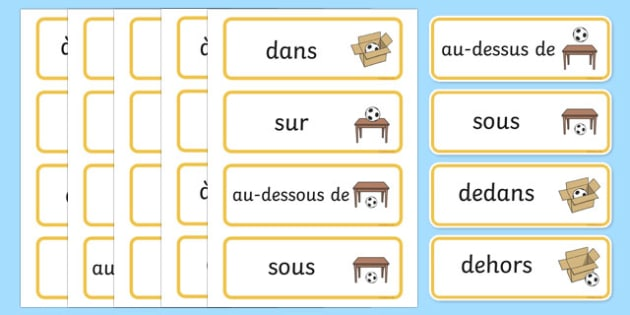 Positional Vocabulary Cards French - french, Position, Positional, Positional Language, Position Words, up, down, inside, outside, next to, North, South, East, West