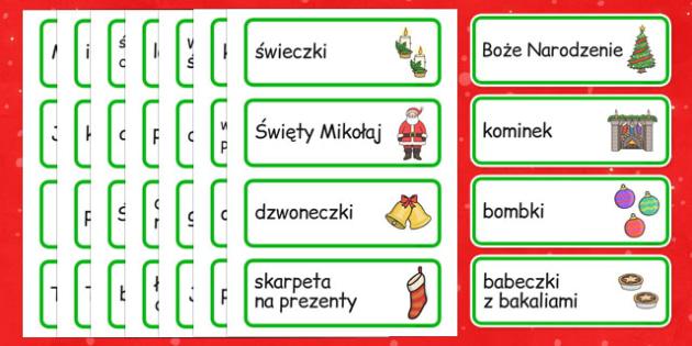 Karty ze słownictwem Boże Narodzenie po polsku - choinka, Mikołaj