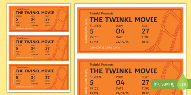 Cinema Role Play Tickets - Cinema, Film, movie, Role play, play, ticket, adult, child, popcorn, ticket, flick, love, drama, action, genres