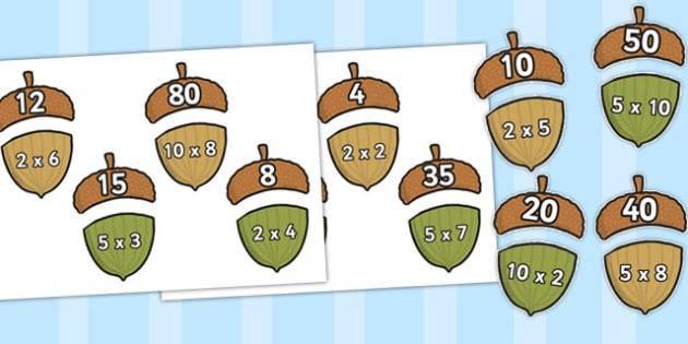 Multiplication 2x, 5x, 10x Acorn Matching Activity - multiply