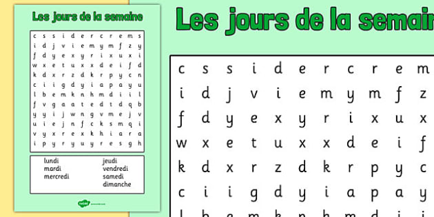 Les jours de la semaine Word Search French - french, days, week