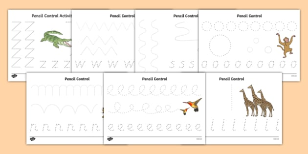 Crocodile Themed Pencil Control Sheets - The Selfish Crocodile, fine motor skills, reptiles, ks1, eyfs, pen, writing, drawing