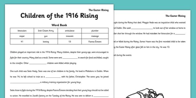 Children of the 1916 Rising Cloze Activity - gaeilge, irish, children, 1916 rising, cloze activity