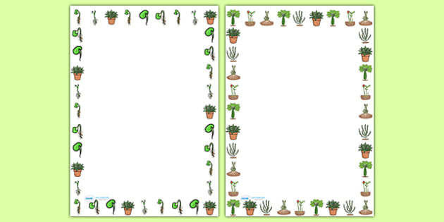 Life Cycle of a Plant Portrait Page Borders - life cycles, plants