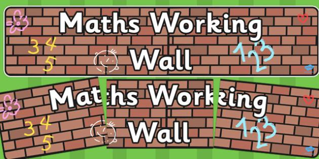Maths Working Wall Display Banner EYFS - display banner, display
