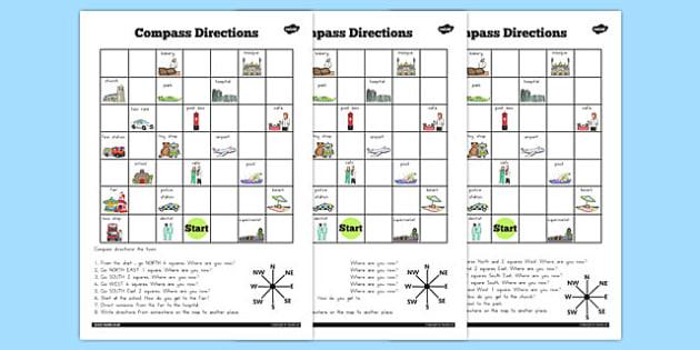 Compass Directions Worksheet - australia, compass, directions