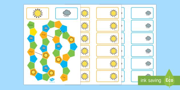 Juego de mesa editable: El tiempo y las estaciones - El tiempo y las estaciones del año, proyecto, jugar, revisar vocabulario, Spanish