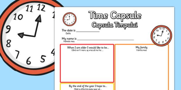 Time Capsule Transition Writing Frame Romanian Translation - romanian