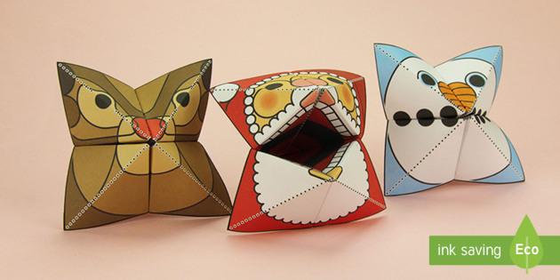 Simple 3D Christmas Fortune Teller Puppet Pack Paper Craft - xmas, craft, paper, Christmas, father christmas, saint nicholas, make, origami, snowman, snow, rudol