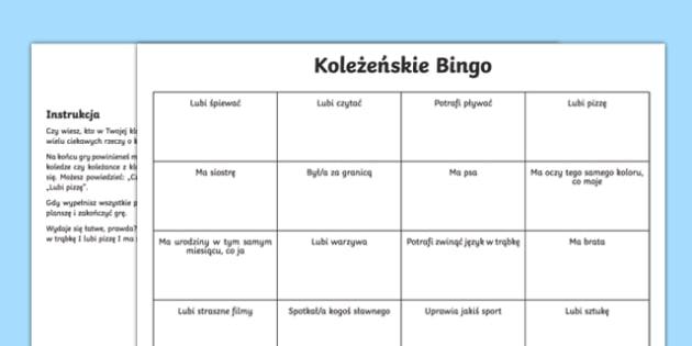 Back to school new class friendship bingo activity