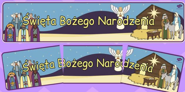 Banner na gazetkę scienną Boże Narodzenie po polsku - gwiazdka , Polish