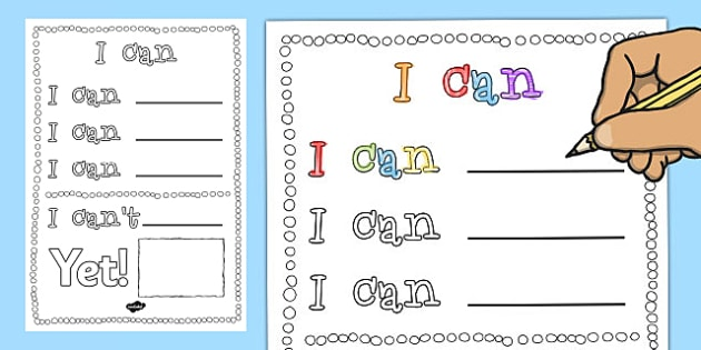 Growth Mindset Affirmation Activity: I Can - growth, mindset, affirmation, activity