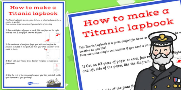 The Titanic Lapbook Instructions Sheet - lapbook, instructions
