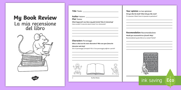 Interactive Book Review Writing Template EnglishItalian