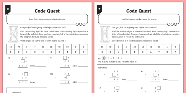 Addition and Subtraction Two-Digit Missing Numbers Activity Sheet - Addition and Subtraction, Opposite, inverse, reverses, calculation, operation, take, take-away, less