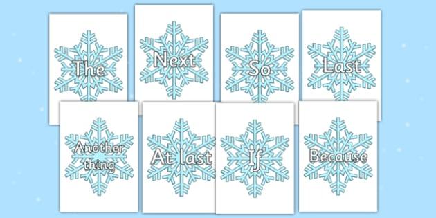 Sentence Openers on Snowflakes - sentence, openers, snowflakes, sentence openers
