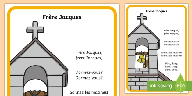 CfE Frère Jacques Nursery Rhyme A4 Display Poster French - French songs, nursery rhymes, french nursery rhymes, french tunes, french lyrics, frere jacques.,Sco
