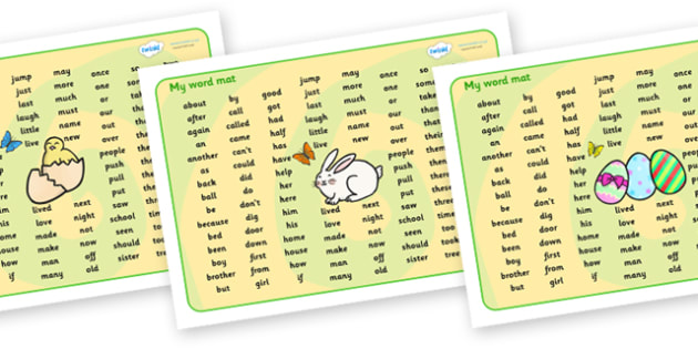 Easter Theme Phase 2 Word Mat KS2 - word mat, writing aid, mat, easter, easter theme, ester word mat, easter key words, easter phase 2 word mat, easter KS1 word mat, KS1 word mat, wordmat, words on a mat, key words, literacy, learning aid