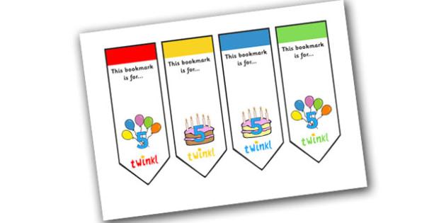 Editable Birthday Bookmarks (Age 5) - Bookmark, birthday, age 2, birthday gift, present, book, reward, achievement