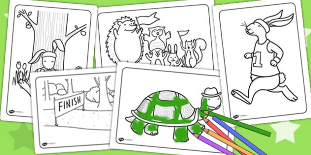 The Tortoise and The Hare Colouring Sheets - story books, stories