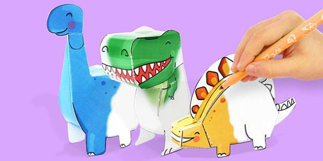 3D Dinosaur Paper Model Activity Pack - dinosaur, dino, colour