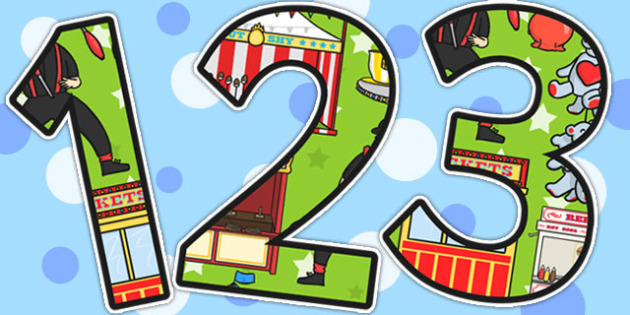 Fairground Themed Display Numbers - fairground, numbers, display