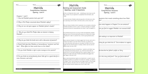 Differentiated Reading Comprehension Activity to Support Teaching on Matilda - stories, story books