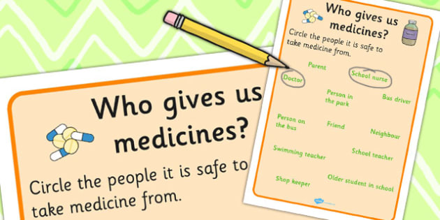 Who Gives Us Medicines Worksheet - Medicines, Who, Tablets, Pills, Health