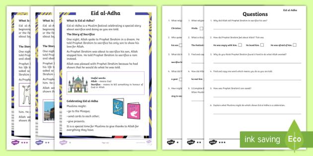 KS1 Eid al-Adha Differentiated Reading Comprehension Activity - Muslim, Islam, festival, celebration, English