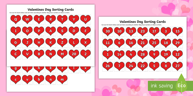 Canada Valentines Day Numbers and Letters Sorting Cards - Canada Valentines Day, numbers, letters, math, language, kindergarten.