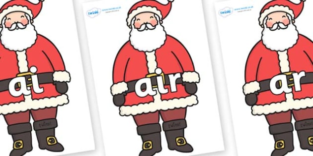 Phase 3 Phonemes on Santa - Phonemes, phoneme, Phase 3, Phase three, Foundation, Literacy, Letters and Sounds, DfES, display