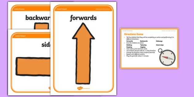 Foundation PE (Reception) Directions Game Warm-Up Activity Card - physical activity, foundation stage, physical development, games, dance, gymnastics