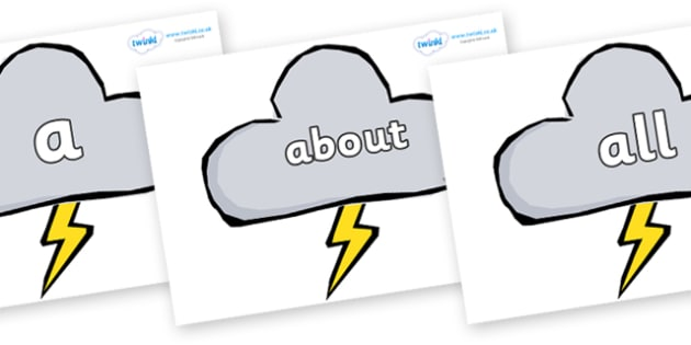 100 High Frequency Words on Weather Symbols (Stormy) - High frequency words, hfw, DfES Letters and Sounds, Letters and Sounds, display words