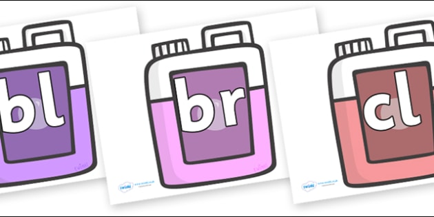 Initial Letter Blends on Bottles - Initial Letters, initial letter, letter blend, letter blends, consonant, consonants, digraph, trigraph, literacy, alphabet, letters, foundation stage literacy