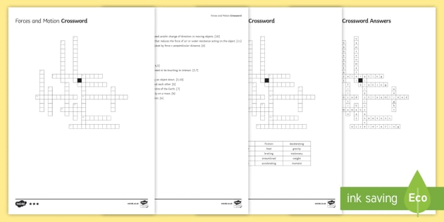 KS3 Forces and Motion Crossword - Crossword, force, forces, motion, air resistance, friction, gravity, balanced, unbalanced, accelerat