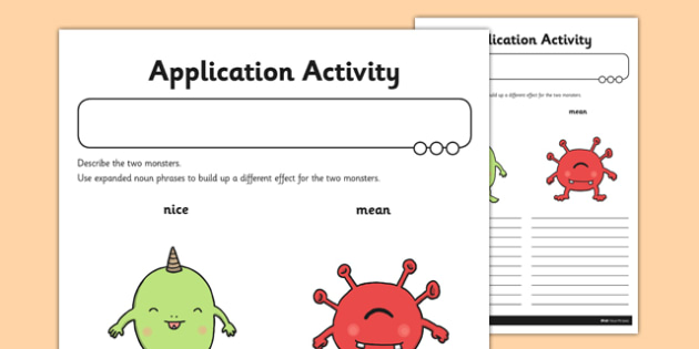 Expanded Noun Phrases Application Sheet - GPS, modifying, adjectives, spelling, grammar, punctuation