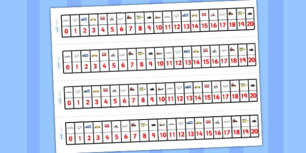 Transport Number Track (1-20) - Maths, Math, transport, number track, numbertrack, Counting, Numberline, Number line, Counting on, Counting back, car, van, lorry, bike, motorbike, plane, aeroplane, tractor, truck, bus
