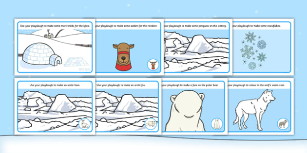 Polar Playdough Mats - Polar Playdough Mats, Polar Regions, polar region, region, polar, mat, activity, playdough, ice, North Pole, South Pole, Arctic, Antarctic, polar bear, penguin, glacier, iceberg, seal, husky, northern lights, igloo, Inuit, snow