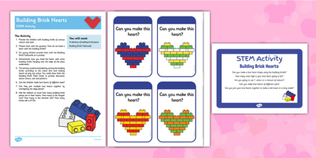 Building Brick Hearts STEM Activity - Science, technology, engineering, maths, love, hearts, valentines, lego